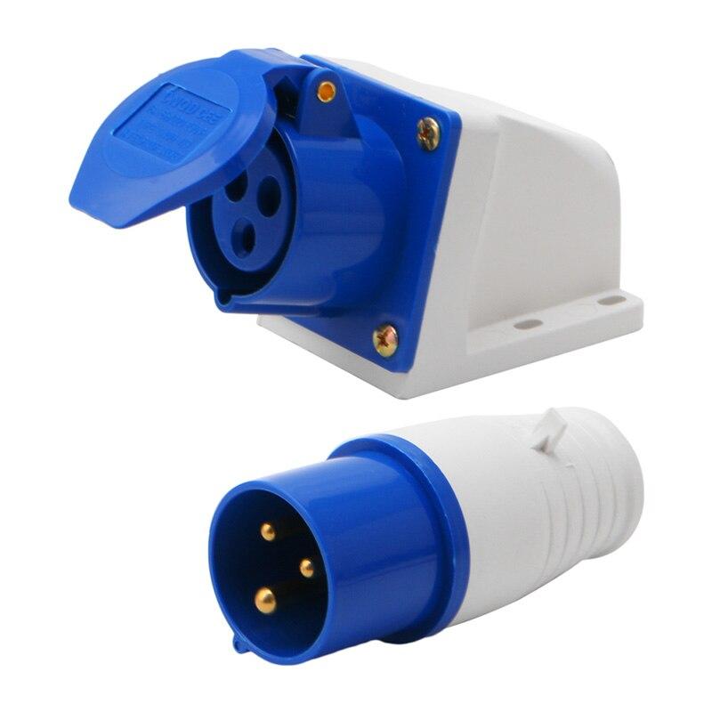 16 Amp 3 Pin Spina Blu 220 240 Volt resistente alle intemperie a IP44 16A Generatore camper