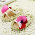 First walkers girl's pink Shoes big flower girl's floral soft sole   hook and loop baby shoes bow summer