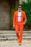New Arrival One Button Orange Groom Tuxedos Groomsmen Men's Wedding Prom Suits Bridegroom (Jacket+Pants+Girdle+Tie) K:634