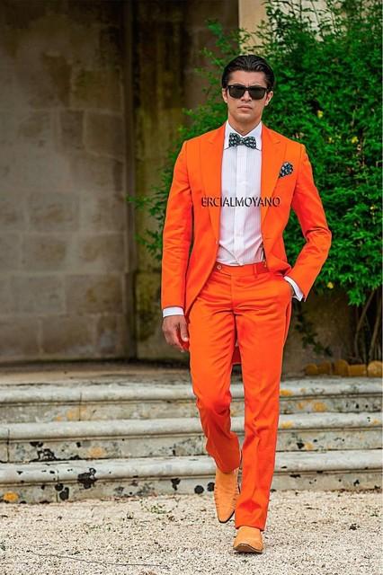 Nova chegada de um botão laranja do noivo smoking padrinhos de casamento dos homens Prom ternos noivo ( Jacket + Pants + cinto + Tie ) K : 634