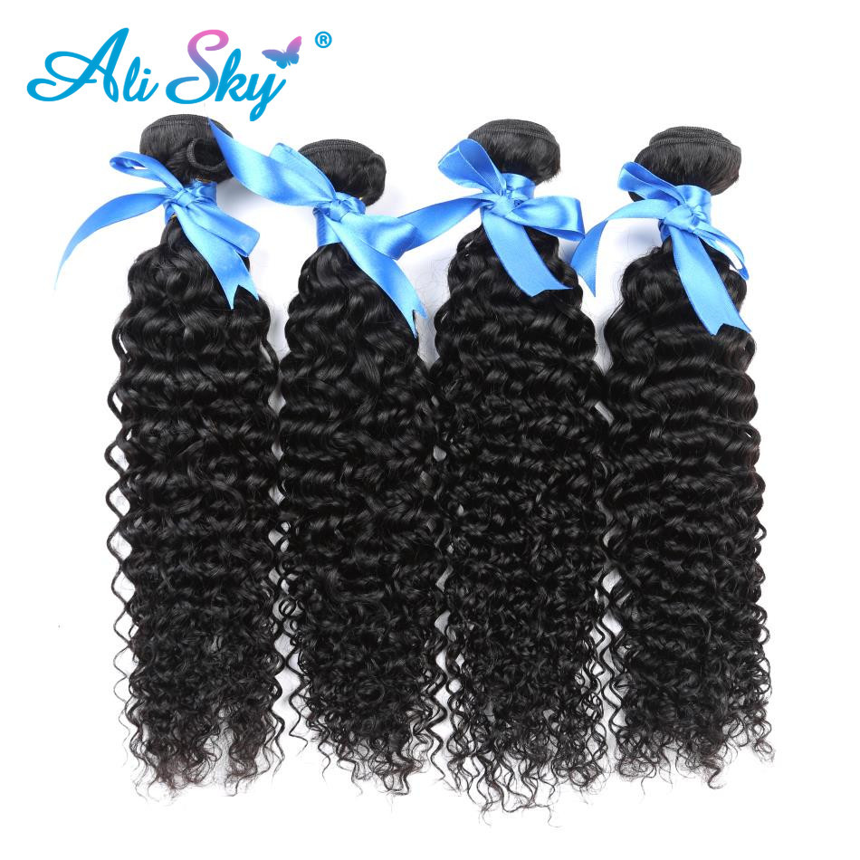 Ali Sky 4 Bunldle Mongolian Afro Kinky Curly Hair Weave 100% Human Hair Weaves Non Remy Hair Extension Black Free Shipping