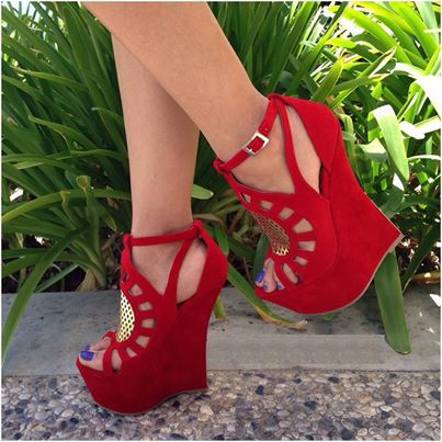 Фото Made-to-order Handamde Red Women Sandal Wedges Cut-outs Open Shoes Sweet Fashion Ladies OL Sandals Gladiator Nubuck Leather