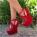 Made-to-order Handamde Red Women Sandal Wedges Cut-outs Open Shoes Sweet Fashion Ladies OL Sandals Gladiator Nubuck Leather
