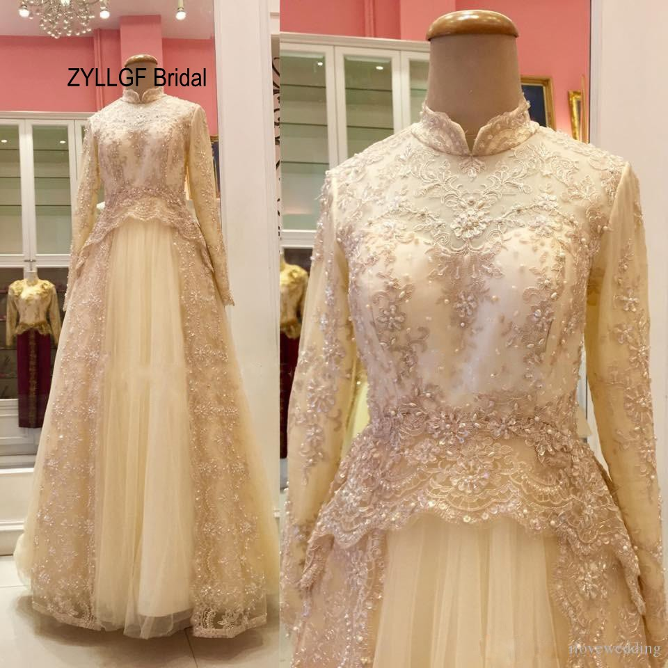 Zyllgf bridal real high neck arabic wedding dress long floor zyllgf bridal real high neck arabic wedding dress long floor length champagne lace muslim bridal gowns with beadings md60 in wedding dresses from weddings ombrellifo Image collections