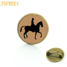 TAFREE Brand vintage Horseback Riding brooches love horse charms Equestrian sports events gift badge jewelry for men women SP514(China)