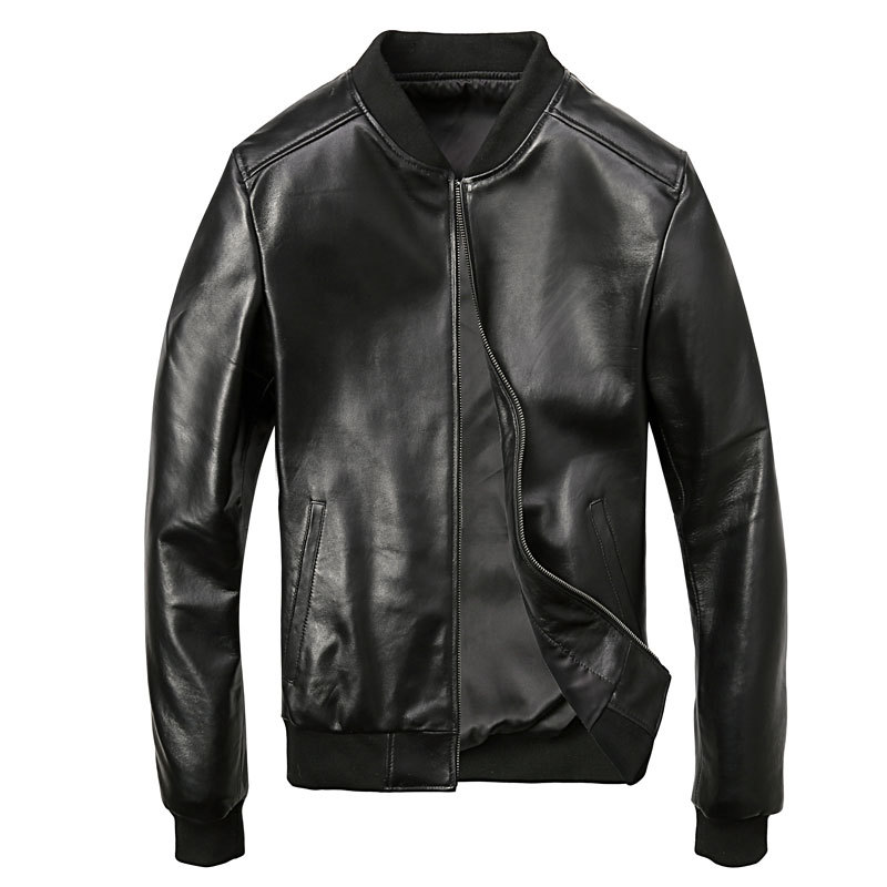 Men's Sheepskin Winter Genuine Leather Jacket Motorcycle For Men Pilot Bomber Jacket Natural Real Leather Male Aviator Coat 2019