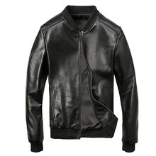 Mens Sheepskin Winter Genuine Leather Jacket Motorcycle For Men Pilot
