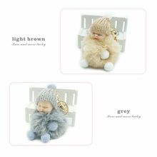 ZOEBER Baby Sleeping fur Doll Keychain foot hand doll Pompom Rabbit Fur Key Chain Car Keyring Key Holder Charm jewelry for women