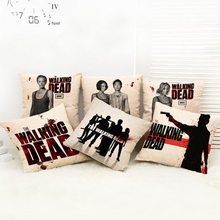 EE. UU. drama The Walking Dead funda de almohada de algodón de lino del amortiguador cala silla asiento de la cintura funda de almohada cuadrada home living Textiles 45×45 cm
