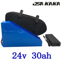 24 V Triângulo de scooter 34 v 30ah bateria de lítio bicicleta elétrica da bateria ebike com BMS 30A 24 V 30AH e 29.4 V carregador + saco livre
