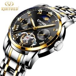 Tourbillon mężczyźni Top luksusowa marka zegarki automatyczne mechaniczne zegarek ze stali nierdzewnej wodoodporny KINYUED relogio masculino 2018