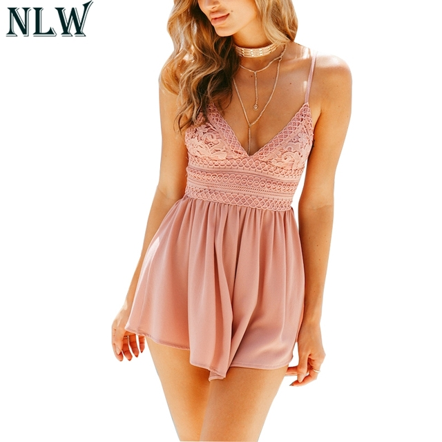 NLW Pink Lace Strap Sexy Playsuit Backless V Neck Summer Jumpsuit 2018 Women  Blue Yellow Red Overalls Chiffon Female Bodysuits ab808dbb5ce3