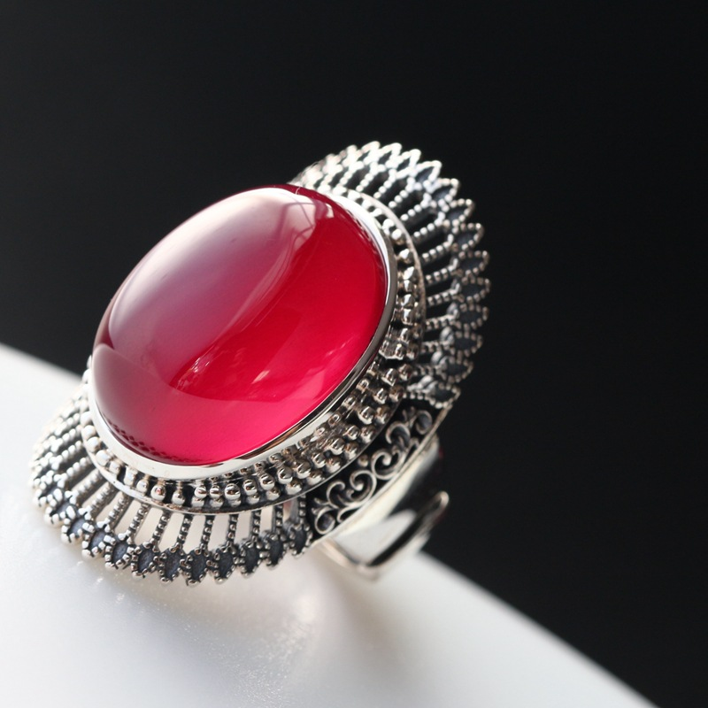 sterling silver ring The red corundum width the silver mustard Thai silver restoring ancient ways the index finger ring 2018 direct selling anel feminino thai restoring ancient ways leading mosaic unique ring wholesale corundum man with ambition