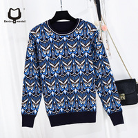 2018 Women Jacquard long sleeve pullovers metallic knitted sweater Female shiner owl fine cloth Pullovers knitting Sweaters