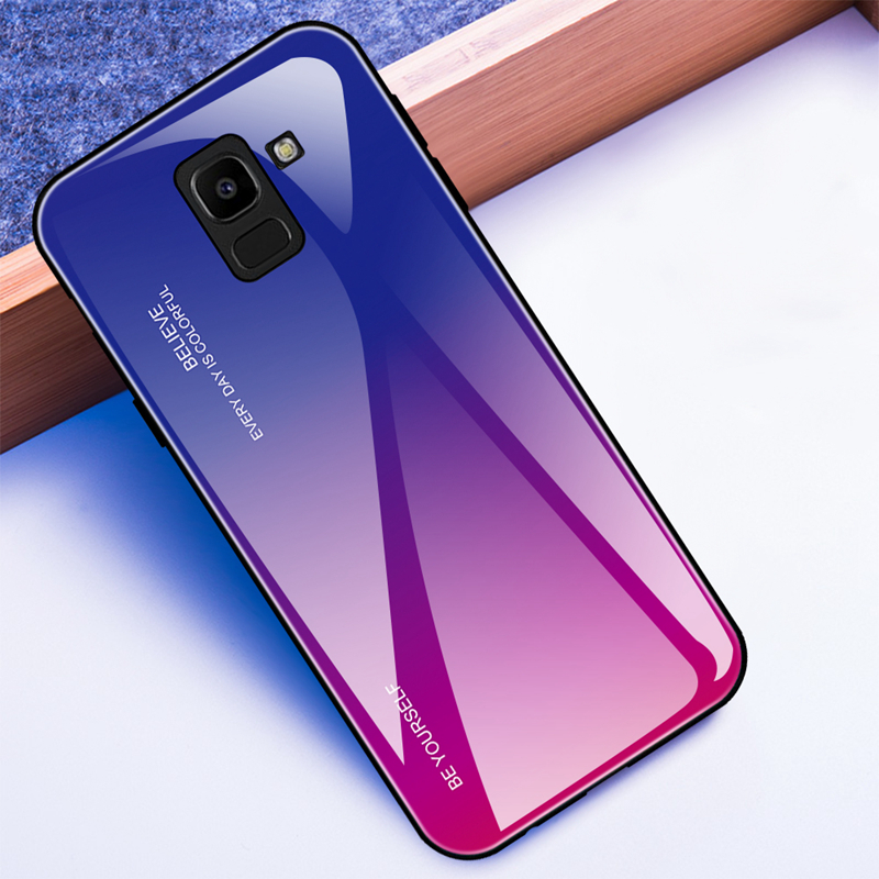 Tempered Glass Case For Samsung Galaxy S8 S9 Plus A5 2017 A7 A6 A8 J4 J6 Plus J8 2018 Note 8 9 Aurora Colorful Cover Coque