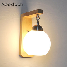 Apextech Bedside Wood Wall Lamp Bed Room Night Light E27 Socket Japan Style Study Living Decoration Lights