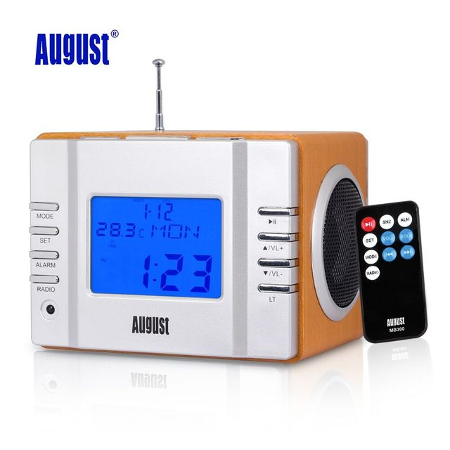 August MB300 Wood FM Radio with MP3 Music Alarm Clock Portable Stereo System with SD Card /USB In/Aux In 2 x 3W HiFi Speakers