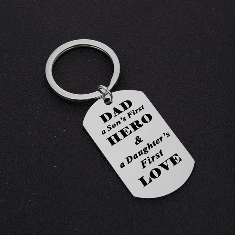 Dad Keychain Fathers Day Keychain,Dad a First Hero for Child Dad Money Clip Key Ring Gift from Son Stainless Steel