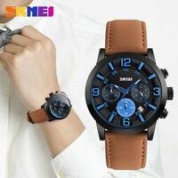 SKMEI Men Quartz Watch Waterproof Clocks Fashion Casual Leather Wristwatches High Quality Sports Watches 9147 Relogio
