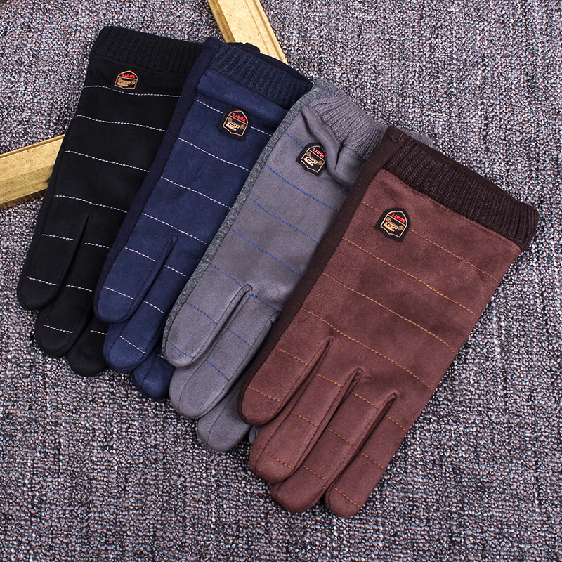 Forceful Realby Stylish Mens Winter Gloves Guantes Black Coffee Casual Gloves Male Luxury Suede Thermal Gloves Christmas Mitaine B5976 Men's Gloves