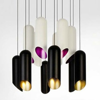 Creative Modern Bamboo Tube LED Pendant Light G9 Black And Golden Lamp For Parlor Dining Room hanglamp suspension luminaire
