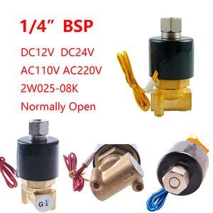 "Image 2 - 1/4"" 3/8"" 1/2"" 3/4"" 1"" Normally Open N/O Brass Electric Solenoid Valve 12V 24V 220V 110V Pneumatic Valve for Water Oil Air Fuel"