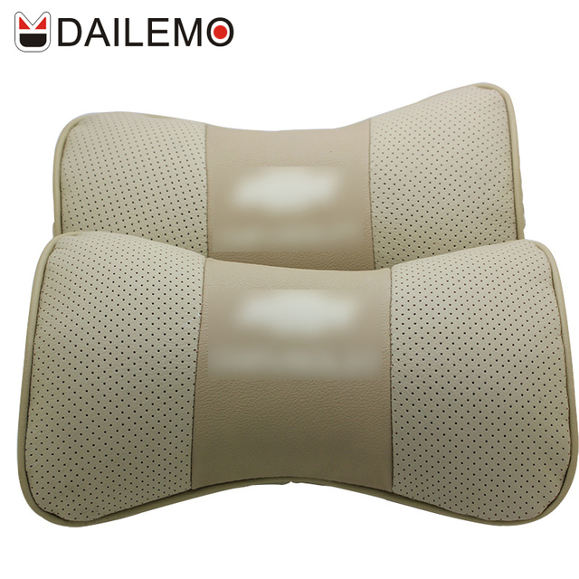 DAILEMO Gold Car Seat Cover Neck Support 2 Pcs/set Leather Car-seat Covers Headrest For Chevrolet Malibu Cruze Captiva Camaro