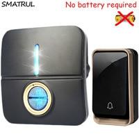 SMATRUL Self Powered Wireless DoorBell Waterproof No Battery EU Plug Smart Door Bell Led Light 1