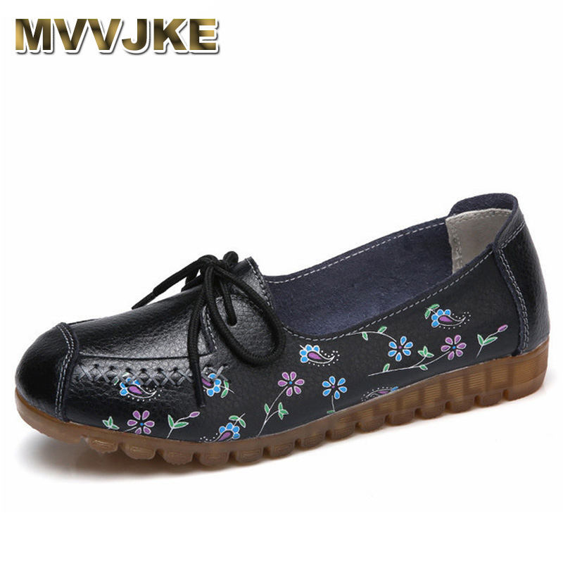 MVVJKE 2018 Printing Flower Spring Shoes Woman Lace-Up Women Flats Genuine Cow   Leather   Female Loafers Moccasins Ladies Shoe