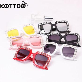 KOTTDO luxury Rhinestone Kids Sunglasses Square Sun Glasses Children Baby Sunglasses Boys Girls Okulary Oculos De Sol Feminino