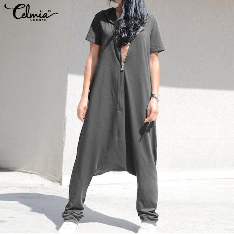 2019 Celmia Plus Size Jumpsuits Women Short Sleeve Overalls Hoodies Loose Harem Pants Solid Casual Zipper Rompers Femme Pantalon