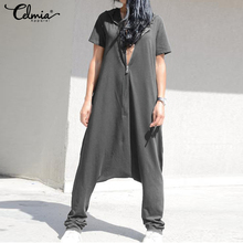 2019 Celmia Plus Size Jumpsuits Women Short Sleeve Overalls