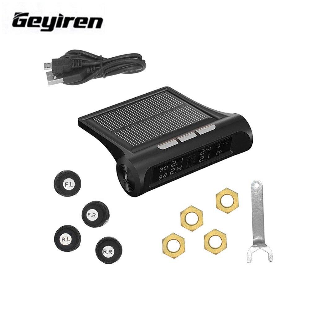 Smart Car Tire font b TPMS b font Tyre Pressure Monitoring System Solar Power charging Digital