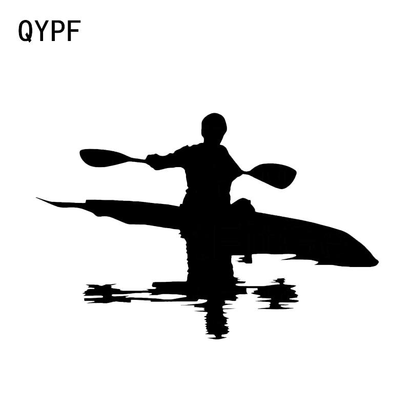 QYPF – autocollant en vinyle 16.1x10.6CM, Silhouette graphique de vie de rivière de canoë, décor de style de voiture, C16-1231