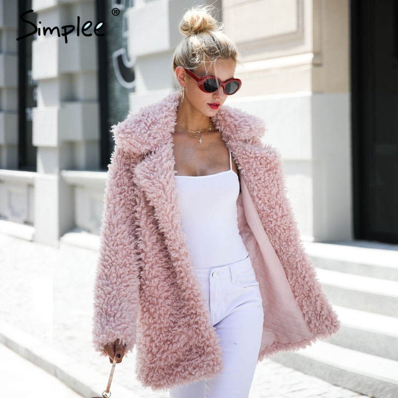 Simplee Chaud hiver faux manteau de fourrure femmes De Mode streetwear grandes tailles long manteau femelle 2018 Rose casual automne manteau survêtement - 2