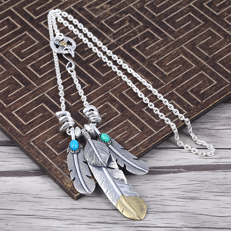 Takahashi Goro's Feather Male And Female S925 Sterling Silver Vintage Thai Silver Personality Retro Set Necklace