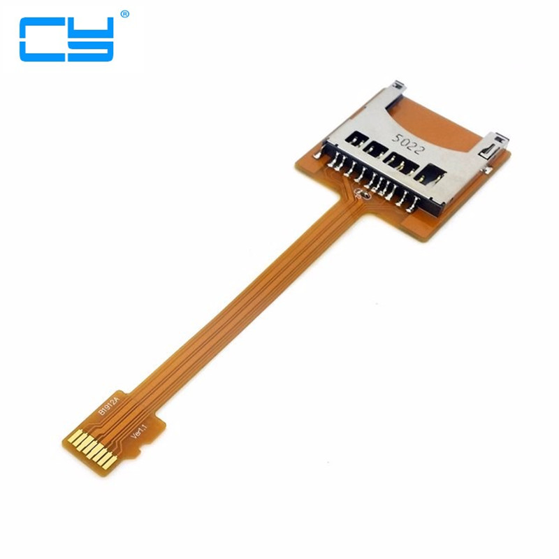 Micro SD TF Memory Card Kit Male to SD Female Extension Soft Flat FPC Cable Extender 10cm ssk scrm 060 multi in one usb 2 0 card reader for sd ms micro sd tf white