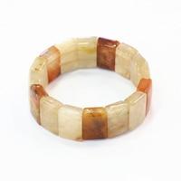 Amuletos pulsera de cuentas para las mujeres Piedra Natural Jade Calcedonia amarilla geometría 14x20mm Cuentas brazalete joyas manuales 7.5 pulgadas b3280