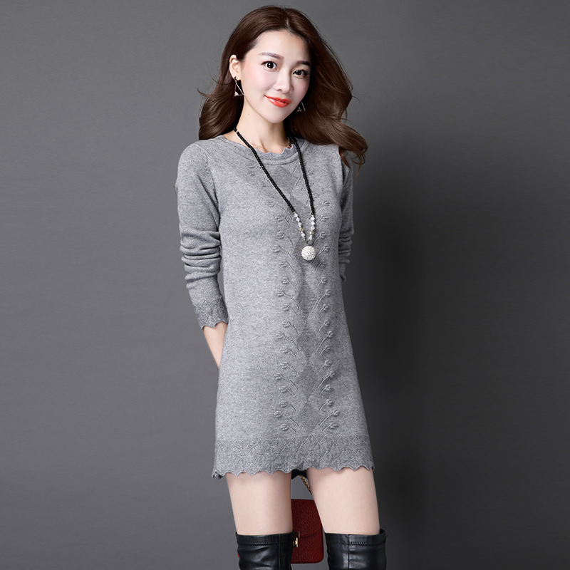 Autumn Winter Woman Sweater Dress 2016 Casual Cotton Knitted Hollow Out Plus Size Female Floral Sweater Dress Knitwear Pullovers fashion woman s striped beanies hat 2016 new autumn winter knitted warm wool casual girl cap for woman skullies chapeu feminino