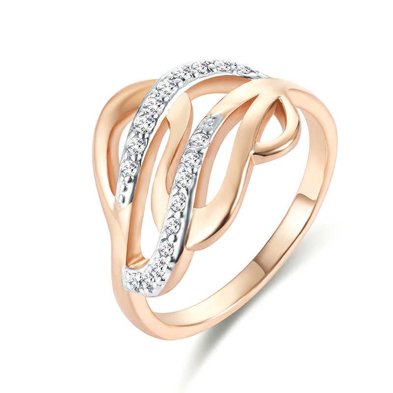 4ccc90eaee0c Модные мм украшения 13 мм широкий для женщин Свадебные кольца 585 Золото  Цвет кубический цирконий ткачество
