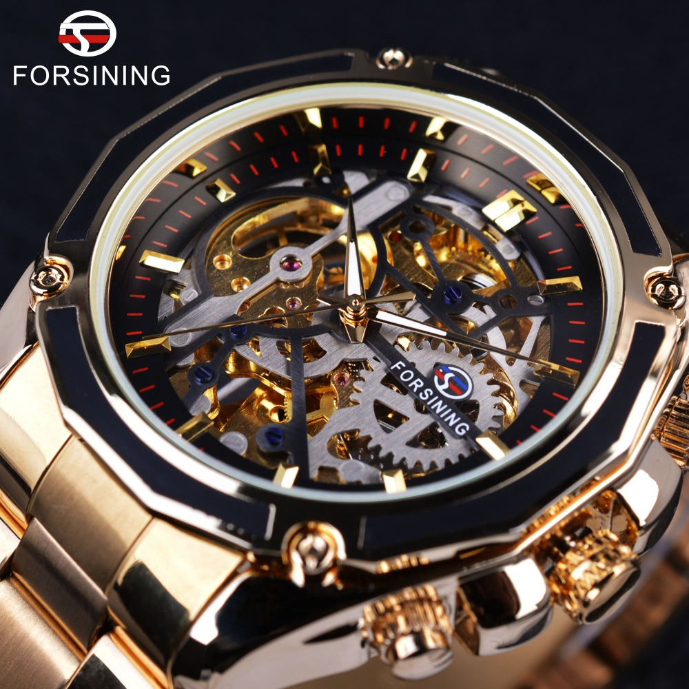 Forsining 2017 New Collection Transparent Case Golden Stainless Steel Skeleton Luxury Design Men Watch Top Brand