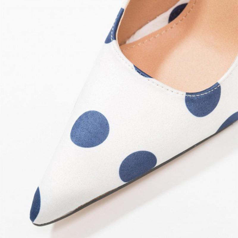 White Blue Wave Point Heels Navy Polka Dots Pointy Toe Stiletto Heel Pumps Pointed Toe Woman Shoes Dress Slip On US9 Fashion FSJ
