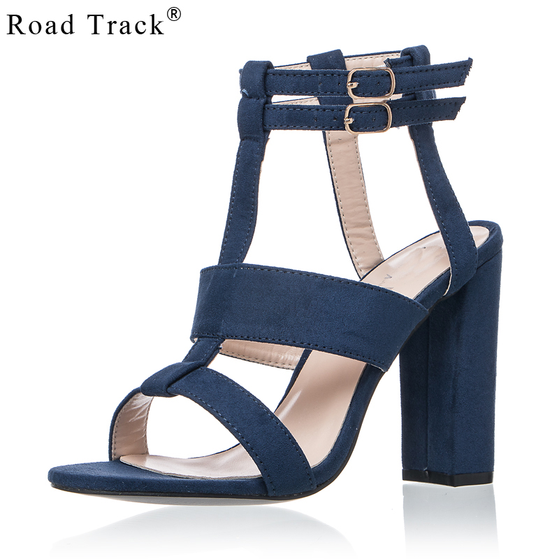 54c80d820a2 Road Track Women Sandals High Heels 10 cm Summer Solid Suede Buckle Strap  Square Heels Ladies Sandals Female XWC0764 5-in High Heels from Shoes on ...