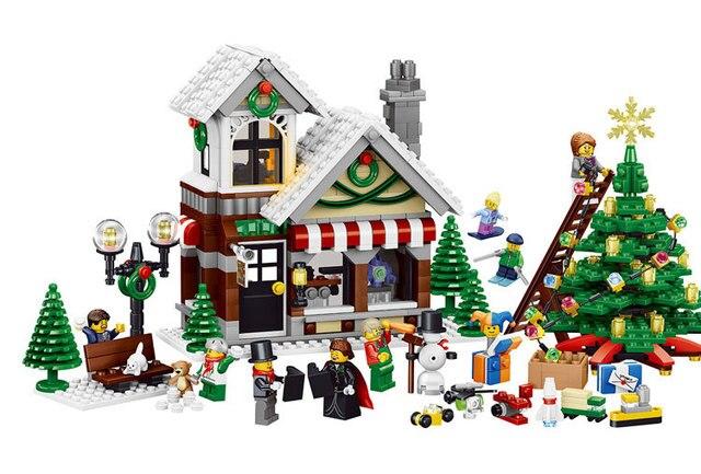 Stks kerst stad model bouwstenen set wapens lepin compatibel