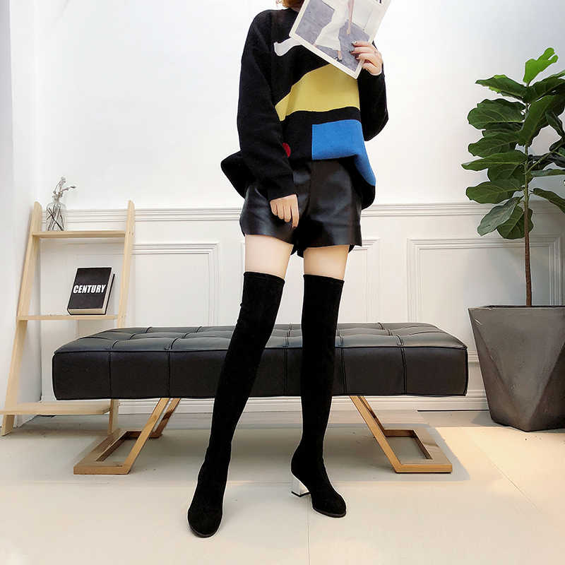 ขนาด 35-43 ฤดูหนาวกว่าเข่ารองเท้าผู้หญิงผ้ายืดผู้หญิงต้นขาสูงเซ็กซี่รองเท้าผู้หญิงยาว Bota feminina