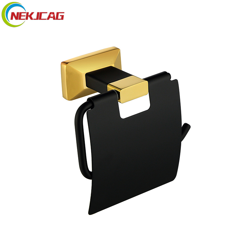 Black Golden Toilet Paper Holder Roll Holder Solid Brass Toilet Paper Holder Tissue black of toilet paper all copper toilet tissue box antique toilet paper basket american top hand cartons page 7