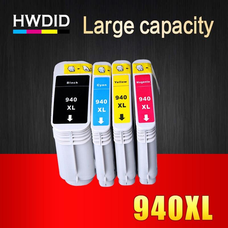 HWDID 4 pcs 940XL Compatible Cartouche D'encre de Remplacement pour HP 940 XL C4906A C4907A C4908A C4909A Pour HP Officejet Pro 8000 8500