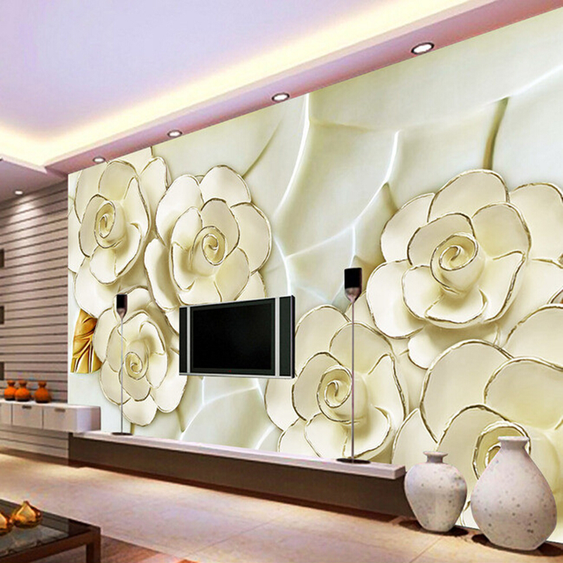 Custom 3D Wallpaper, the atmosphere of the flower murals for the living room bedroom TV background wall vinyl papel de parede free shipping custom large murals of the nordic wood eco living room bedroom tv background wall on a board of nuts