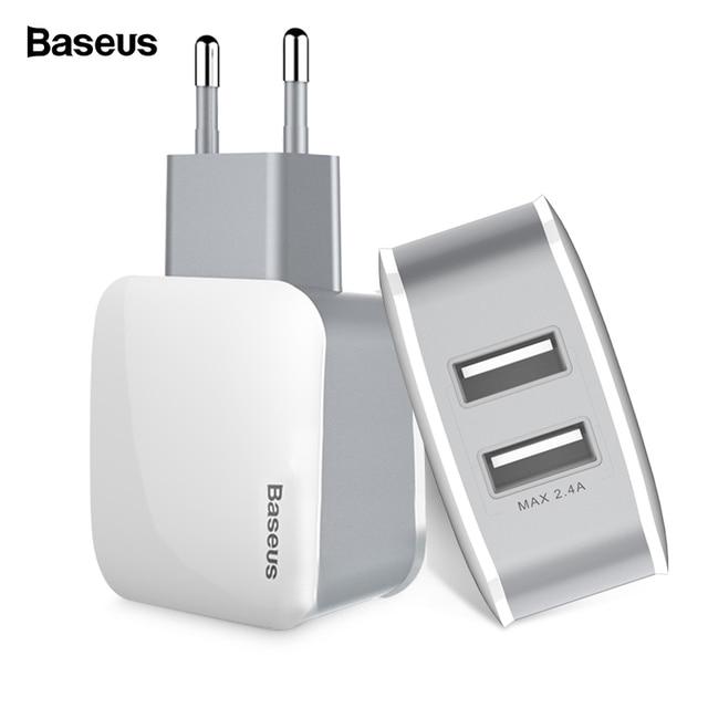Baseus 2 CỔNG USB Sạc Cho iPhone Sạc Nhanh USB Cắm Turbo Sạc Tường Cho Samsung Tiểu Mi Mi Điện Thoại Di Động adapter sạc