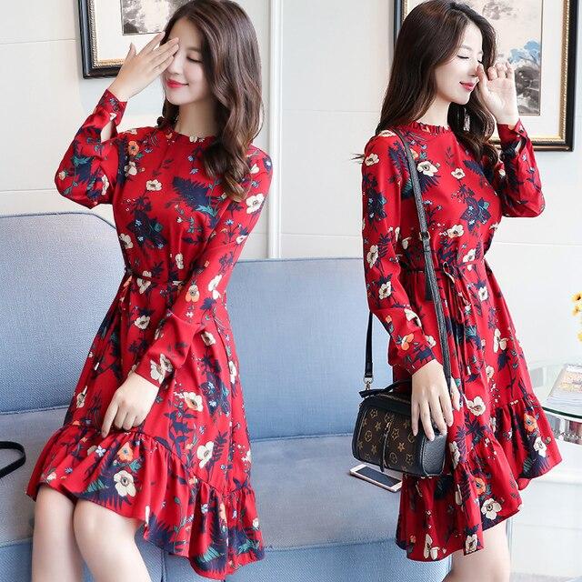 e04997480 Vestido de verano de 2019 las nuevas mujeres manga larga estampado floral  vestido mori niña Flor